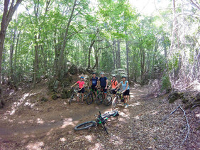 Crossing the woods, Etna Bike Tours