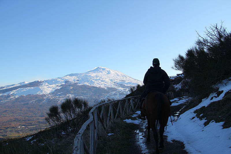 Horse Riding in Sicily, Etna view