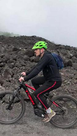 Crossing lava flow, eBike Rent on Etna