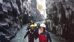 Rising along River, Body Rafting Alcantara Sicily