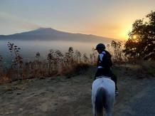 Sunset horse riding on Etna