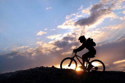 Bikers during an Etna Sunset Tour