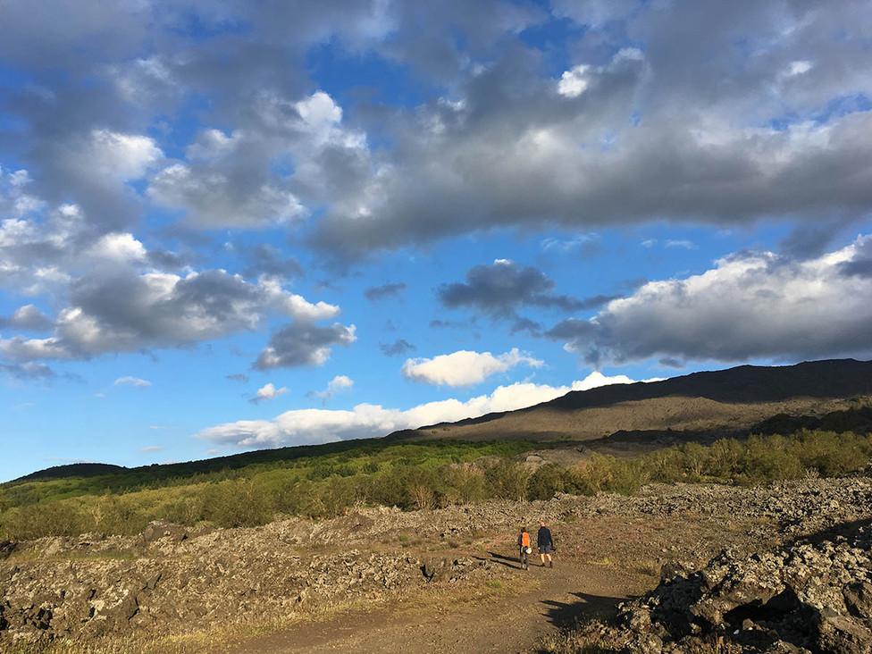 Lava field, Sunset Etna