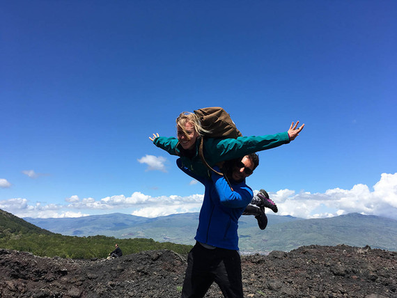 Hikers take fun, Etna Excursion