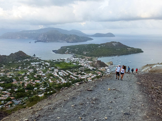 Climbing to the crater, Aeolian Island Tours