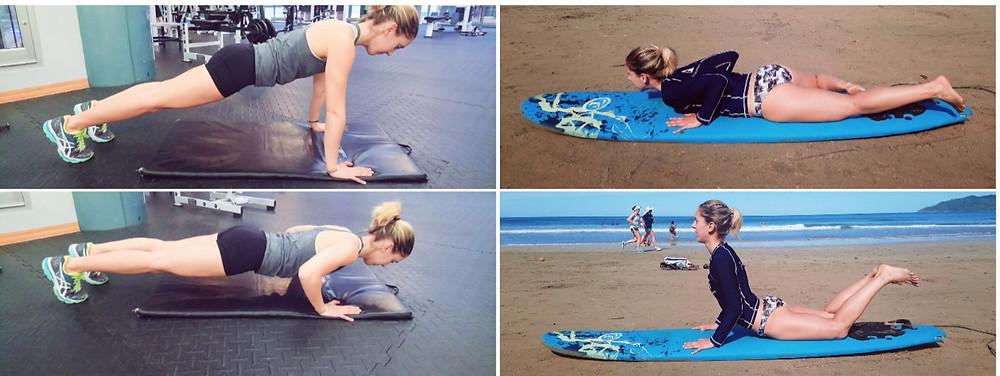 Exercice push-up pour mouvement sur planche de surf