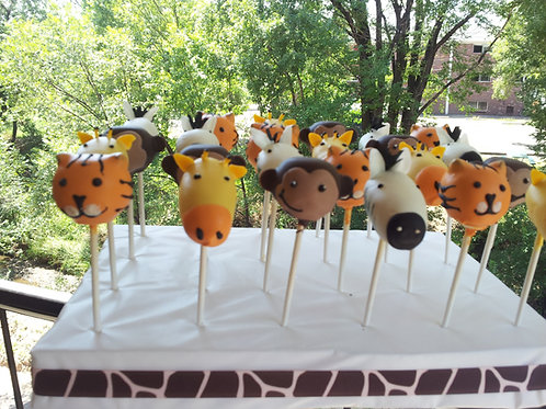 1 Dozen Safari Character Cake Pops