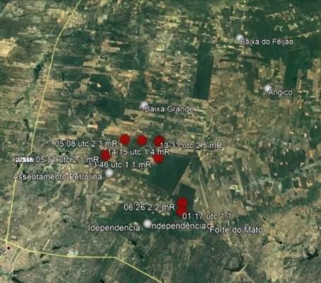 FORAM REGISTRADOS 10 TREMORES DE TERRA EM CARAÚBAS (RN) DURANTE FIM DE SEMANA
