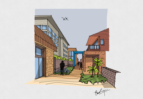 Step by step process - One point perspective view.