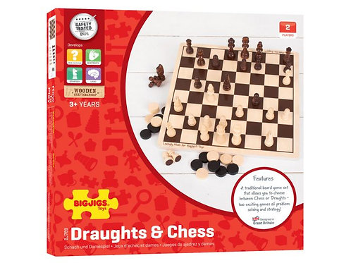 Wooden Draughts and Chess Set