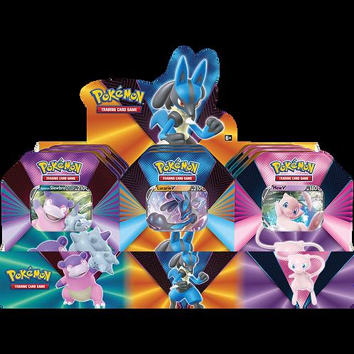 Pokémon TCG: V Forces Tin - Lucario V, Galarian Slowbro V or Mew V CASE