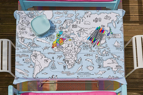 World Map - Colour In Tablecloth