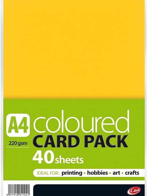 A4 Coloured Card - 40 sheets 220gsm