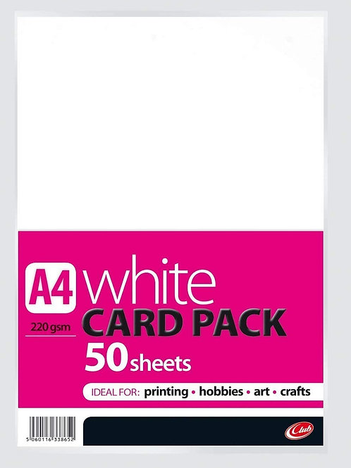 A4 White Card - 50 Sheets 220gsm