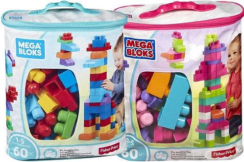 Mega Bloks - Building Bag 60pc (Blue Bags)