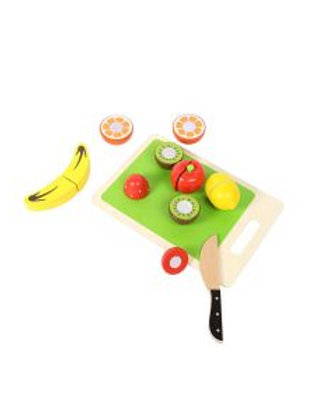 Wooden Cutting Fruits with Chopping Board - 14pcs