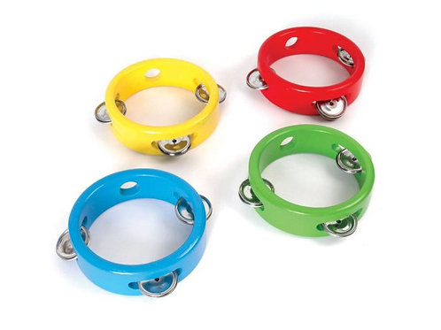 Mini tambourines - sold singularly (assorted colours)