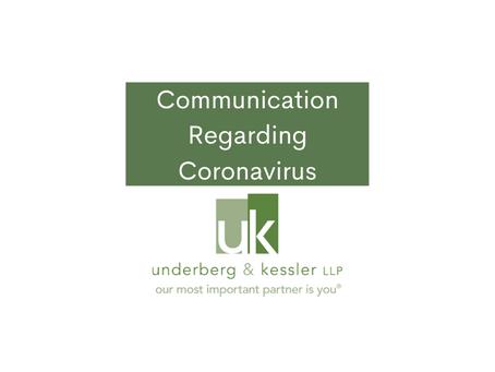 Communication Regarding Coronavirus