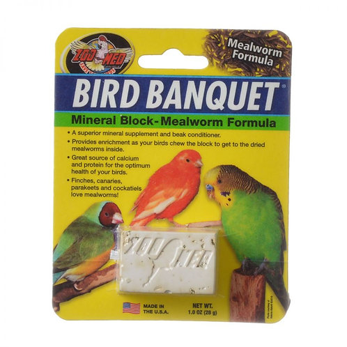 Zoo Med Bird Banquet Mineral Block - Mealworm Formula 1oz