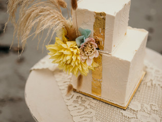 Elopement Cake with subtle texture and bold details