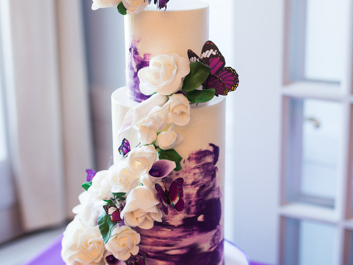 Purple watercolor, sugar roses and calla lillies, and butterflies!