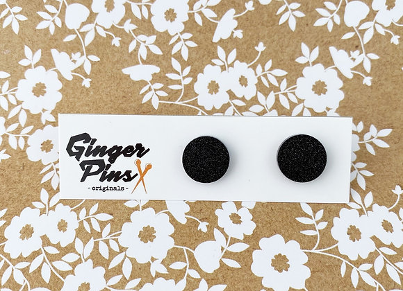 Circle Studs Just A Little Glitter Black/Silver