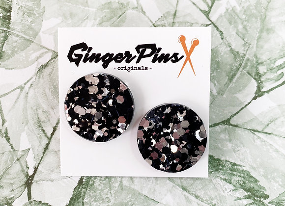 Large Circle Studs Chunky Glitter Silver/Black