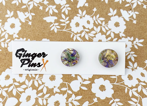 Circle Studs Watercolour Jungle Light
