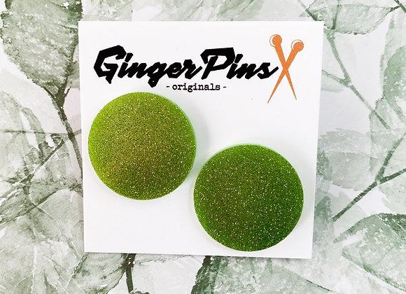 Large Circle Studs Glitter Lime Green