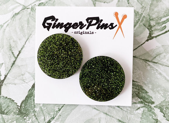 Large Circle Studs Glitter Forrest Green