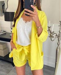 ensemble-veste-blazer-short-jaune