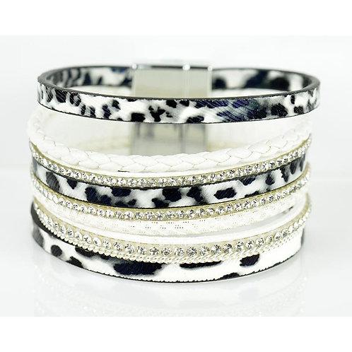 Bracelet strass effet manchette multirang fermoir aimanté new Collection -Cosmenaturbio