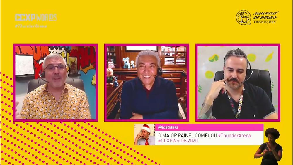 Maurício de Sousa, Sidney Gusman e Wagner Bonilla no painel da CCXP