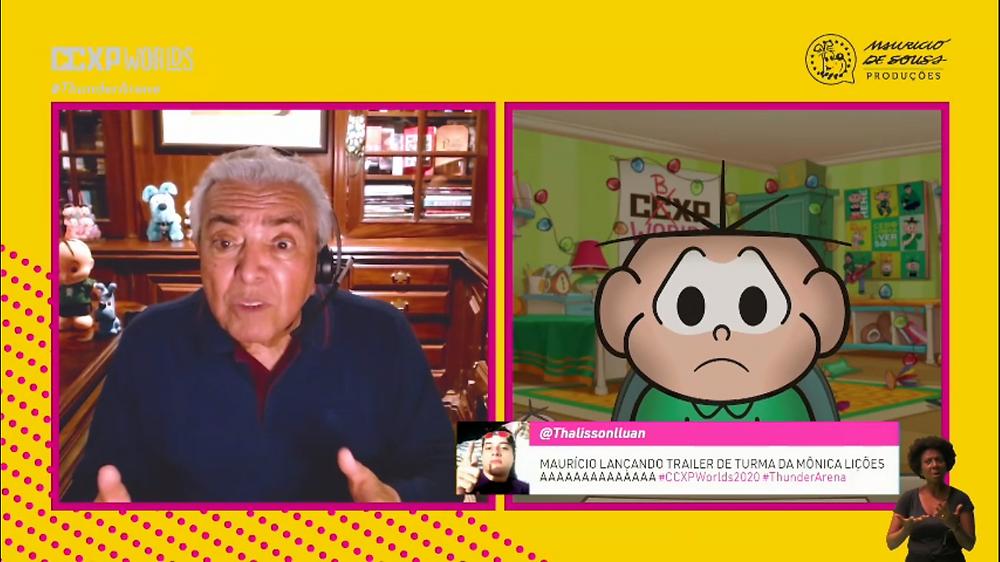 Cebolinha exige a atenção de Maurício de Sousa durante o painel da CCXP Worlds