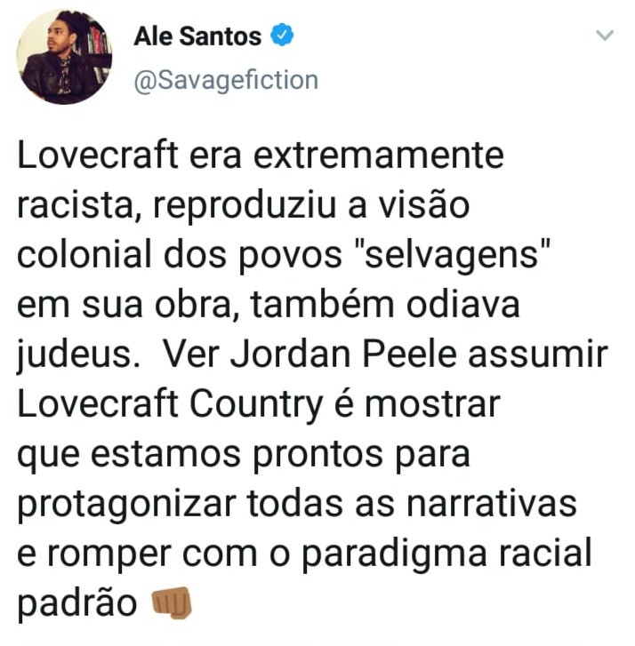 Tweet sobre Jordan Peele estar na produção executiva de Lovecraft Country
