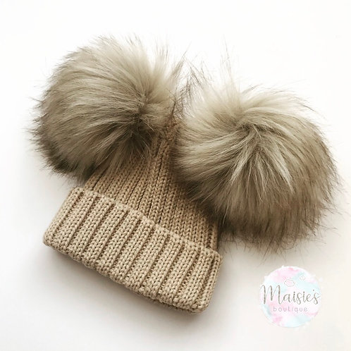 Tan Double Pom Pom Hat