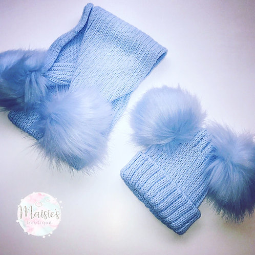 Blue Double Pompom Hat And Scarf Set