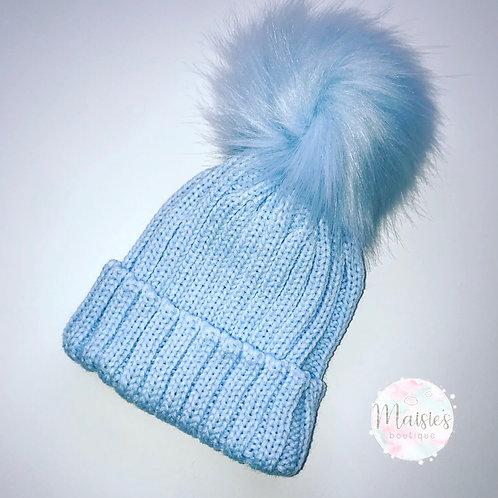 Blue Single Pom Pom Hat