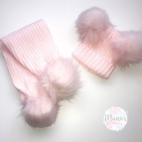 Pink Double Pom Pom Hat and Scarf Set