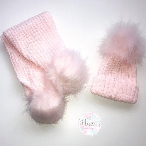 Pink Single Pom Pom Hat and Scarf Set