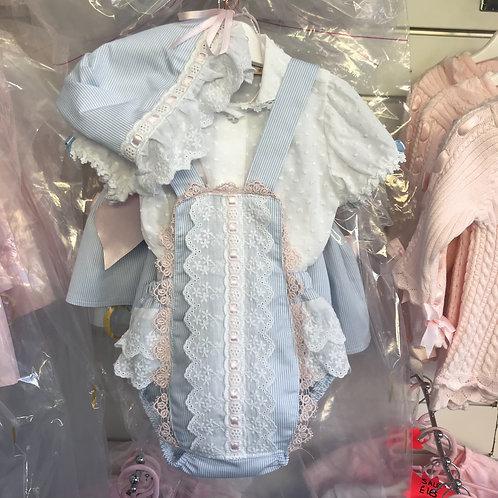 Blue/ Pink Romper, Shirt & Bonnet