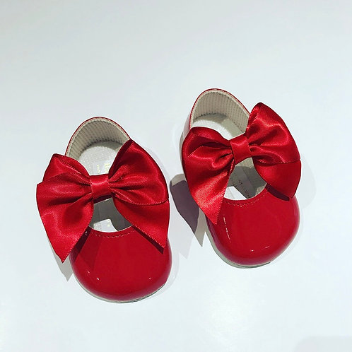Red Soft-sole Bow Shoes