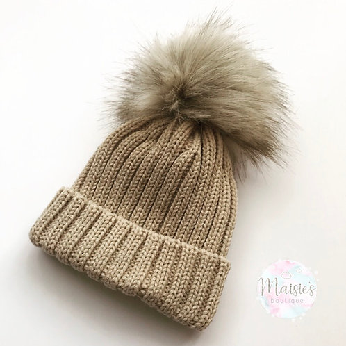 Tan Single Pom Pom Hat