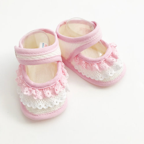Pink & Cream Frill bootees