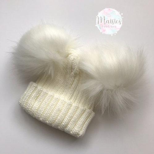 Cream Double Pom Pom Hat