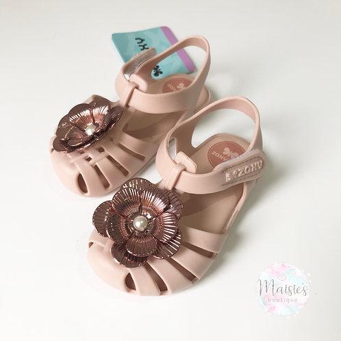 Zaxy Flower Pearl Sandals - Blush