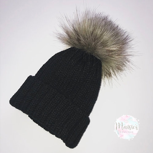 Black Single Pom Pom Hat