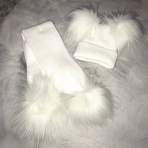 White Double Pompom Hat And Scarf Set