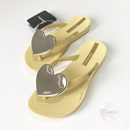 Maxi Heart Flip Flops - Lemon