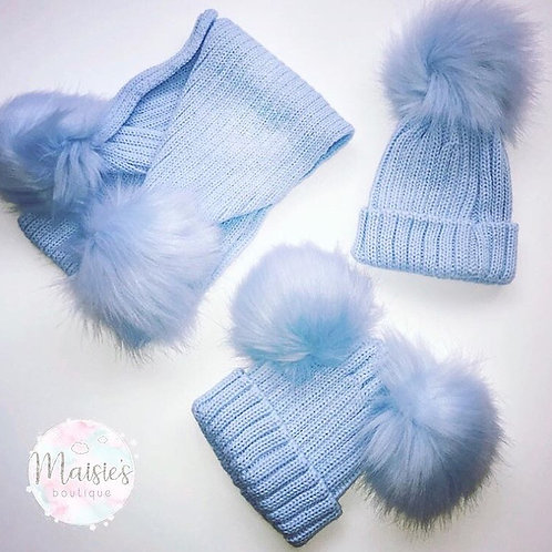 Blue Single Pom Pom Hat & Scarf Set